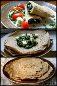 Naleśniki gryczane ze szpinakiem i serem